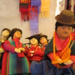 Dolls of women wearing traditional Bolivian clothes