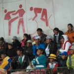The audience at the Cholitas Wrestling in La Paz