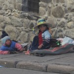 Children wearing hats on the streets of La Paz