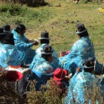The dancing Cholitas take a break, Isla del Sol