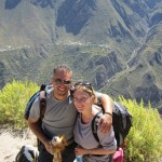 Lewis the Lion poses in the Colca Canyn with his friends Helen and Ofer