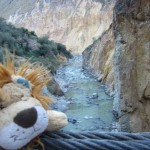 Lewis reaches the river cutting through the deep canyon