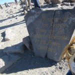 At Patapampa, Lewis admires the Andean volcanoes