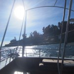 Lewis starts to feel sea-sick on the choppy waters