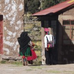 Traditionally dressed Taquile locals