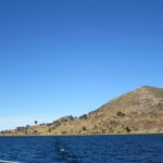 Sailing away from the pretty island of Taquile