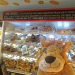 Lewis the Lion in a traditional bagel shop