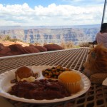 Lewis enjoys a hearty lunch at the Grand Canyon