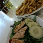 Garlic fries and chicken salad