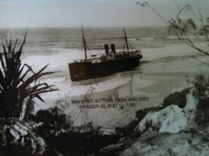 The Maheno when it was first shipwrecked on Fraser Island