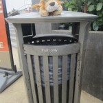 Lewis the Lion sits on a trash can - a litter bin