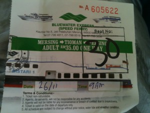 The ferry ticket from Mersing to Tioman