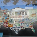 A map of the USA made up of number plates