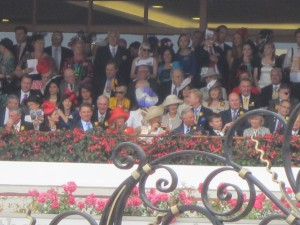 Charles and Camilla also look on excitedly