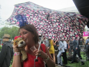 Marion and Lewis the Lion are both happy winners in spite of the rain
