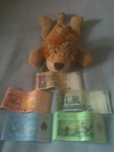 Lewis the Lion with the back of the Malaysian notes