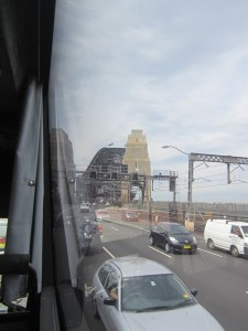 Arriving over the Sydney Harbour Bridge