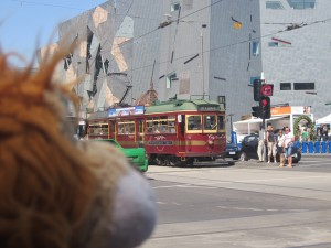 Lewis the Lion sees the old circular street tram arriving