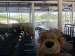 Lewis the Lion arrives early at the Mersing ferry terminal