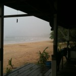 The thick cloud blankets the beach for a few minutes
