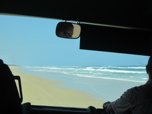 Driving along miles and miles of golden coastline