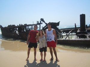 Lewis with Ben, Joshua and Helen by the shipwreck