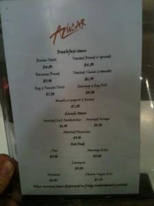 A typical Aussie menu