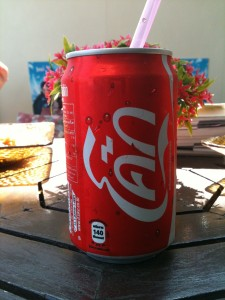 A Thai Coke can written with the Thai script