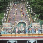 Some of the Hindu gods mark the start of the climb to the top of the stairs