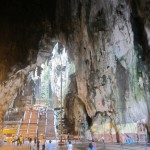 A view from inside of the enormous hollowed out Batu caves