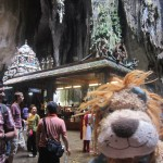 Lewis the Lion at the Hindu shrine inside the heart of the caves