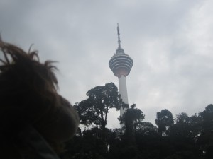 Lewis the Lion looks up at KL's other famous tower: The Sky Tower