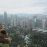 Lewis the Lion looks out onto a drizzly Kuala Lumpur