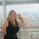 Lewis the Lion and Helen enjoy their visit to the Petronas Towers