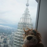 Lewis the Lion can see one of the tower's spires in the background