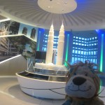 Lewis the Lion loves the technology at the top of one of the Petronas Towers