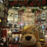 Lewis the Lion gets into the Christmas mood whilst listening to a choir