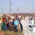 The G-Adventures group soak up the atmosphere of the Kumbh Mela