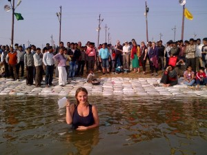 Helen takes a dip in Allahabad, where the three sacred Hindu rivers converge