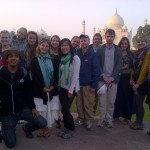 The G-Adventure group pose by the Taj Mahal