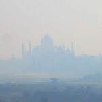 The Taj Mahal silhouetted in the distance