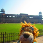 Lewis stands outside Agra Fort