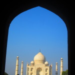 The Taj Mahal is framed by the doorway