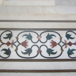 Some of the beautiful marble inlay work on the Taj Mahal