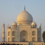 The softer light of twilight falls on the Taj Mahal