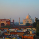 Looking at the Taj Mahal over the Agra rooftops