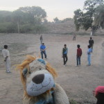 Lewis and his friends join in with a local cricket match