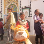 Villagers are excited to meet Lewis the Lion