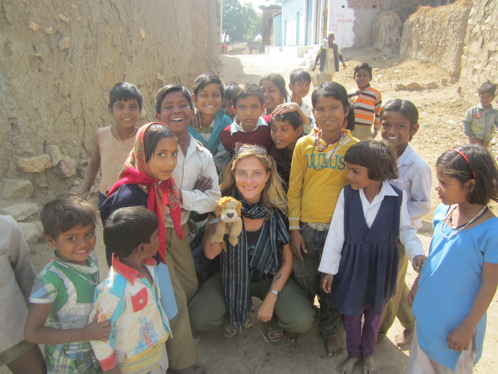 Lewis and Helen meet children in Alipura