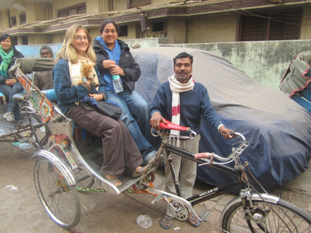 Lewis the Lion, Helen and Seetal take their first rickshaw ride in India